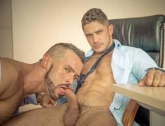 Dato Foland e Denis Vega em troca-troca no escritório
