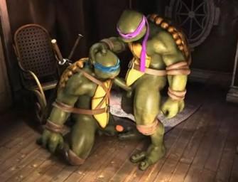 Tartarugas ninjas trepando em cartoon em vídeo