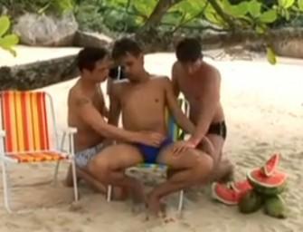 Morenos brasileiros transam gostoso na praia