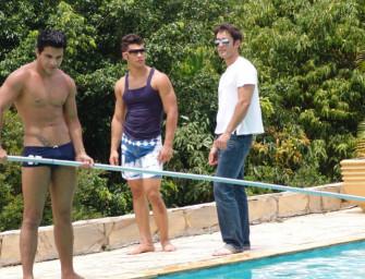 Brasileiros héteros tocam punheta na piscina