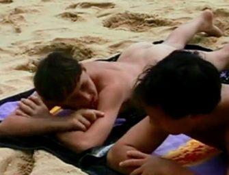 Amigo aproveitam o dia ensolarado em praia naturista