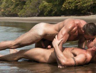 Participando de uma transa selvagem na praia deserta