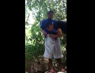 Chupando o novinho hétero às escondidas no matagal