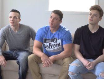Três machos incríveis fazem troca-troca em sacanagem da GayHoopla
