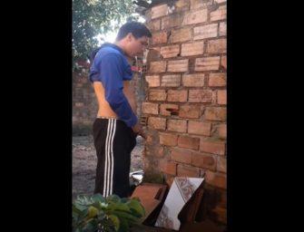 PQP! Flagrou o irmão dotado dando uma mijada no quintal de casa