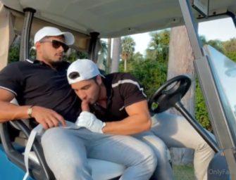 Machos Daniel e Alejo gravam foda no carrinho de golfe para o OnlyFans